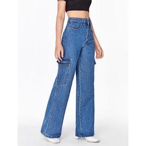 NEW High Waist Wide Leg Cargo Jeans Size L
